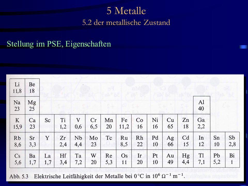 5 Metalle 5.2 der metallische Zustand Stellung im PSE, Eigenschaften