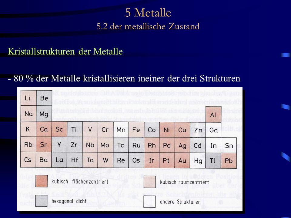 5 Metalle 5.2 der metallische Zustand Kristallstrukturen der Metalle - 80 % der Metalle kristallisieren ineiner der drei Strukturen