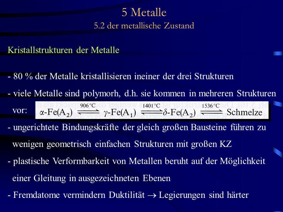 5 Metalle 5.2 der metallische Zustand Kristallstrukturen der Metalle - 80 % der Metalle kristallisieren ineiner der drei Strukturen - viele Metalle si