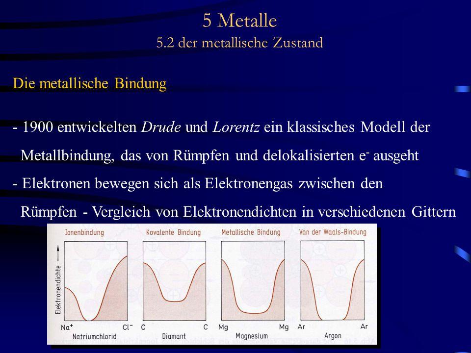5 Metalle 5.2 der metallische Zustand Die metallische Bindung - 1900 entwickelten Drude und Lorentz ein klassisches Modell der Metallbindung, das von