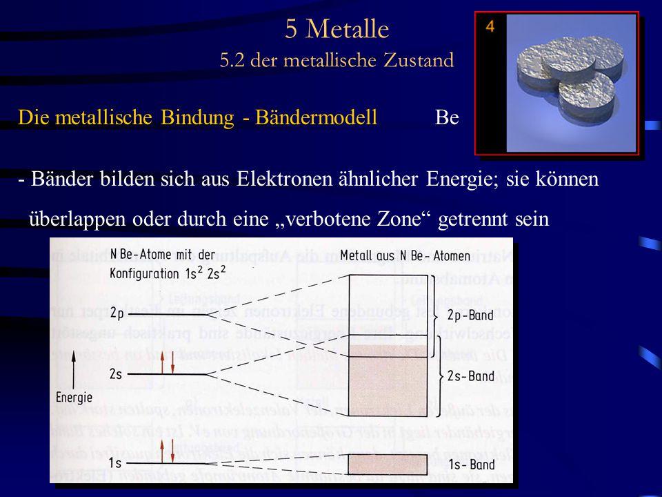 5 Metalle 5.2 der metallische Zustand Die metallische Bindung - Bändermodell Be - Bänder bilden sich aus Elektronen ähnlicher Energie; sie können über