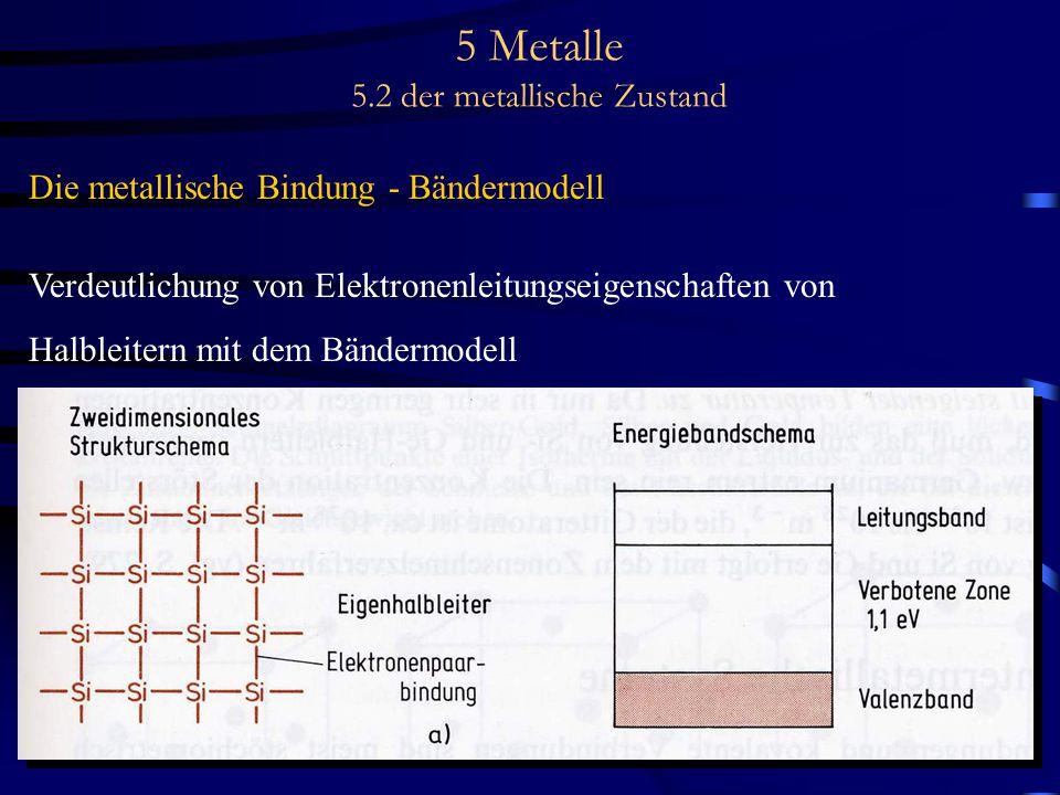 5 Metalle 5.2 der metallische Zustand Die metallische Bindung - Bändermodell Verdeutlichung von Elektronenleitungseigenschaften von Halbleitern mit de