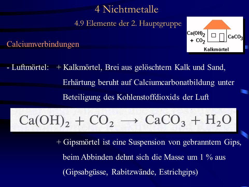 4 Nichtmetalle 4.9 Elemente der 2. Hauptgruppe Calciumverbindungen - Luftmörtel:+ Kalkmörtel, Brei aus gelöschtem Kalk und Sand, Erhärtung beruht auf