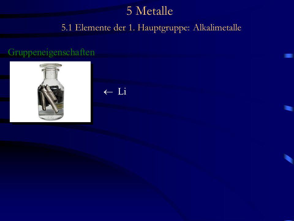 5 Metalle 5.1 Elemente der 1. Hauptgruppe: Alkalimetalle Gruppeneigenschaften  Li