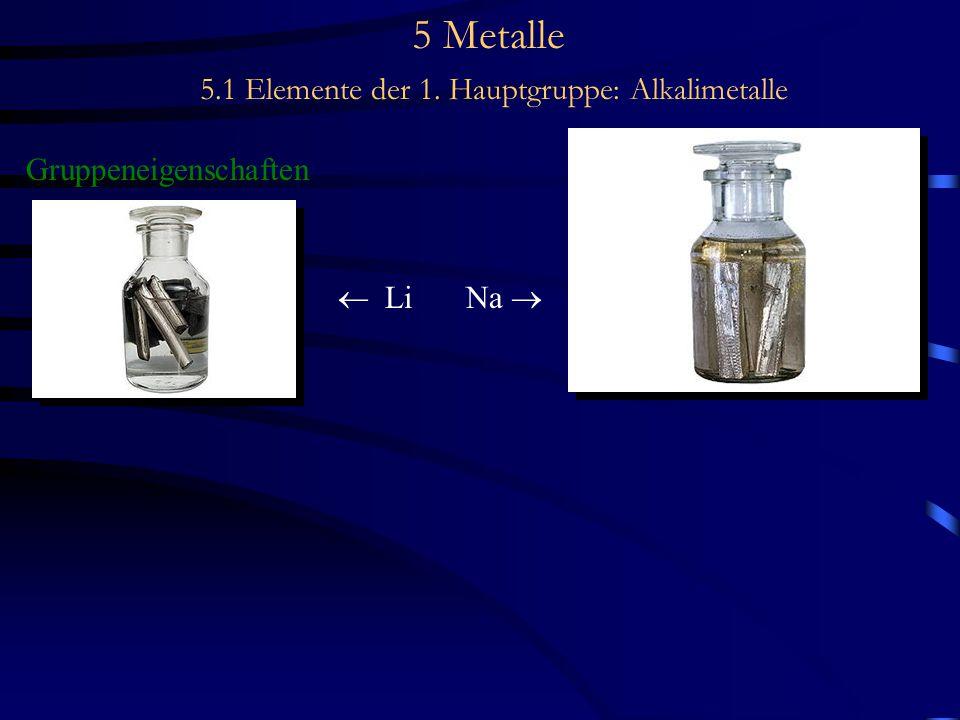 5 Metalle 5.1 Elemente der 1. Hauptgruppe: Alkalimetalle Gruppeneigenschaften  Li Na 