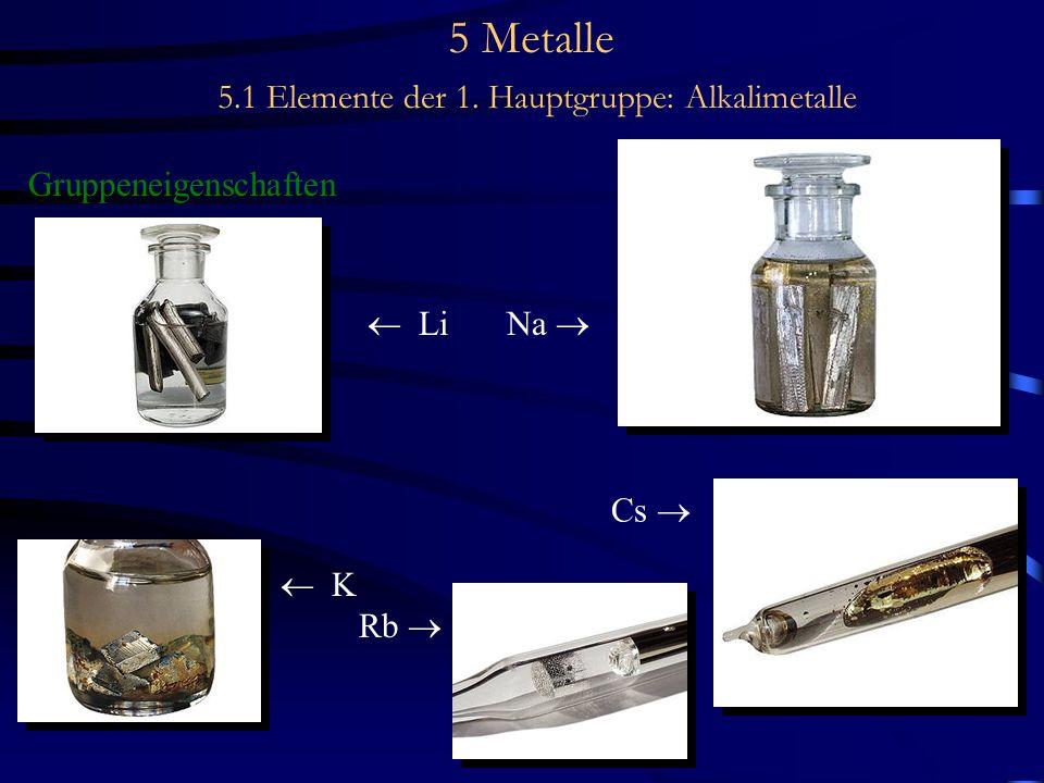 5 Metalle 5.1 Elemente der 1. Hauptgruppe: Alkalimetalle Gruppeneigenschaften  Li Na   K Rb  Cs 