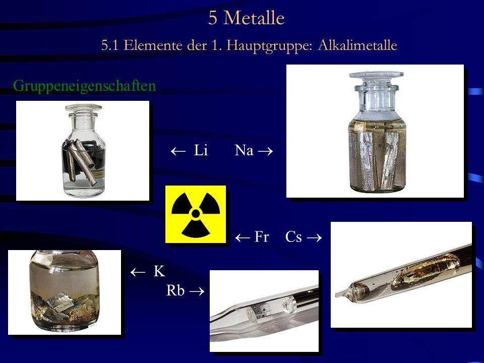 5 Metalle 5.1 Elemente der 1. Hauptgruppe: Alkalimetalle Gruppeneigenschaften  Li Na   K Rb   Fr Cs 