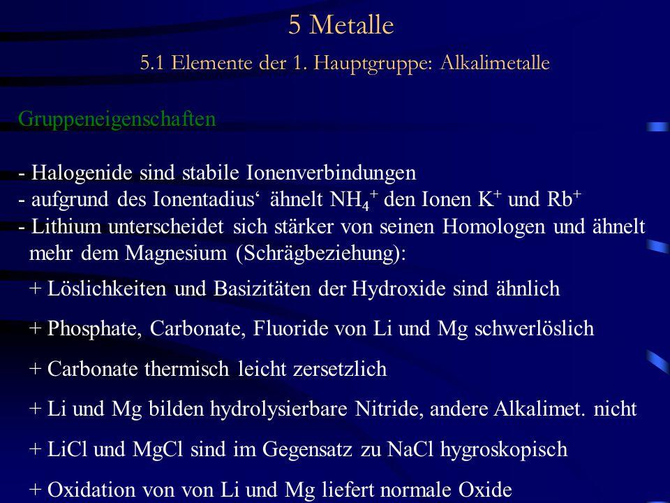 5 Metalle 5.1 Elemente der 1. Hauptgruppe: Alkalimetalle Gruppeneigenschaften - Halogenide sind stabile Ionenverbindungen - aufgrund des Ionentadius'