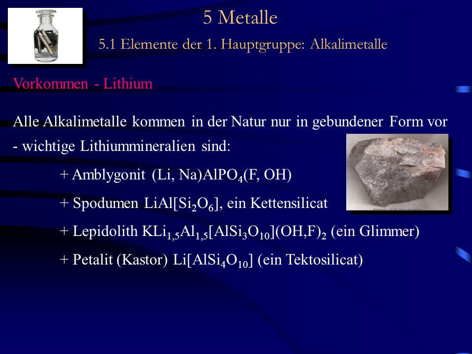 5 Metalle 5.1 Elemente der 1. Hauptgruppe: Alkalimetalle Vorkommen - Lithium Alle Alkalimetalle kommen in der Natur nur in gebundener Form vor - wicht
