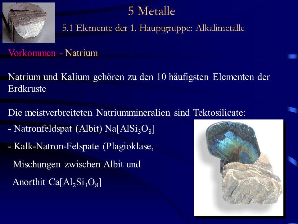 5 Metalle 5.1 Elemente der 1. Hauptgruppe: Alkalimetalle Vorkommen - Natrium Natrium und Kalium gehören zu den 10 häufigsten Elementen der Erdkruste D