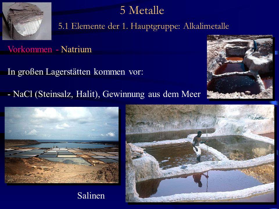 5 Metalle 5.1 Elemente der 1. Hauptgruppe: Alkalimetalle Vorkommen - Natrium In großen Lagerstätten kommen vor: - NaCl (Steinsalz, Halit), Gewinnung a