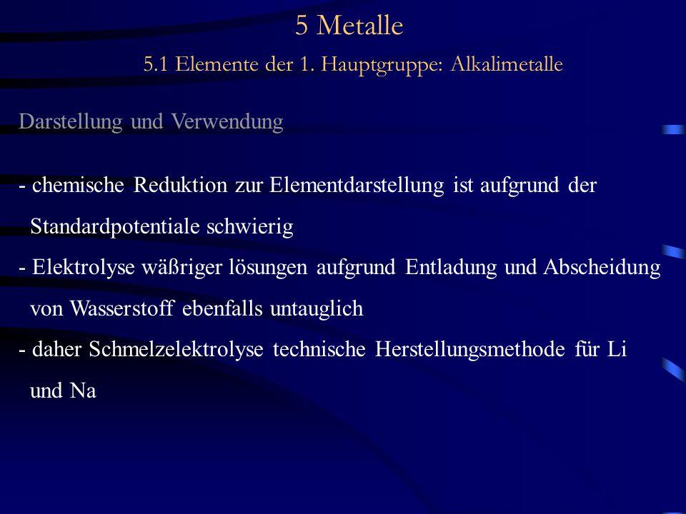 5 Metalle 5.1 Elemente der 1. Hauptgruppe: Alkalimetalle Darstellung und Verwendung - chemische Reduktion zur Elementdarstellung ist aufgrund der Stan