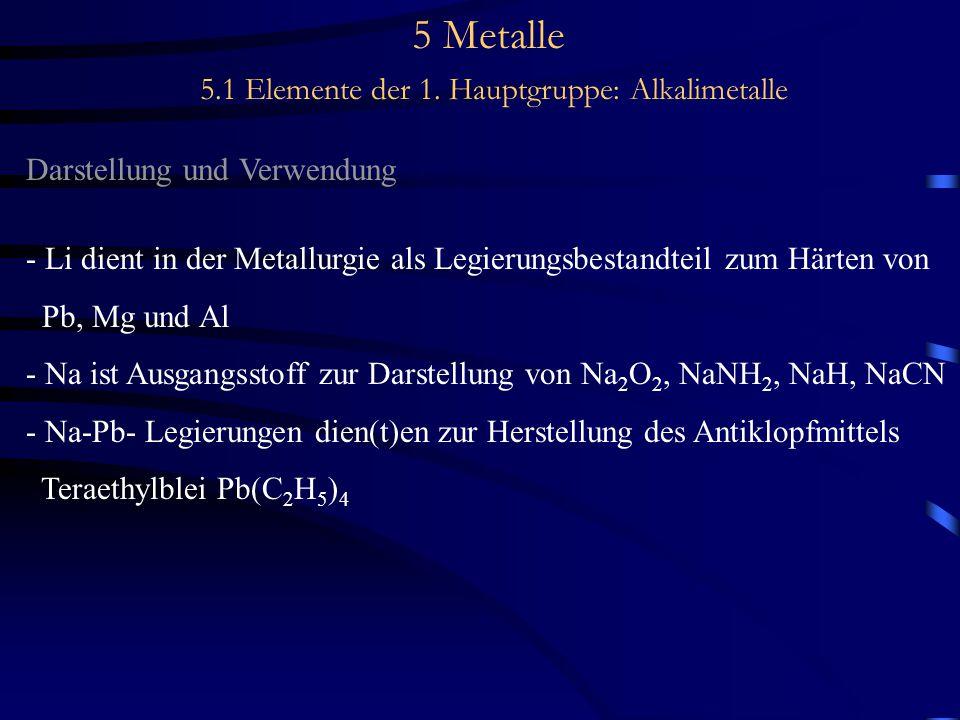 5 Metalle 5.1 Elemente der 1. Hauptgruppe: Alkalimetalle Darstellung und Verwendung - Li dient in der Metallurgie als Legierungsbestandteil zum Härten