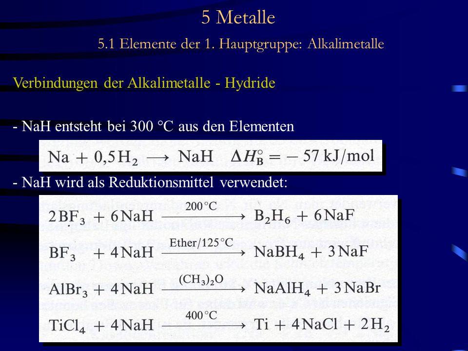 5 Metalle 5.1 Elemente der 1. Hauptgruppe: Alkalimetalle Verbindungen der Alkalimetalle - Hydride - NaH entsteht bei 300 °C aus den Elementen - NaH wi