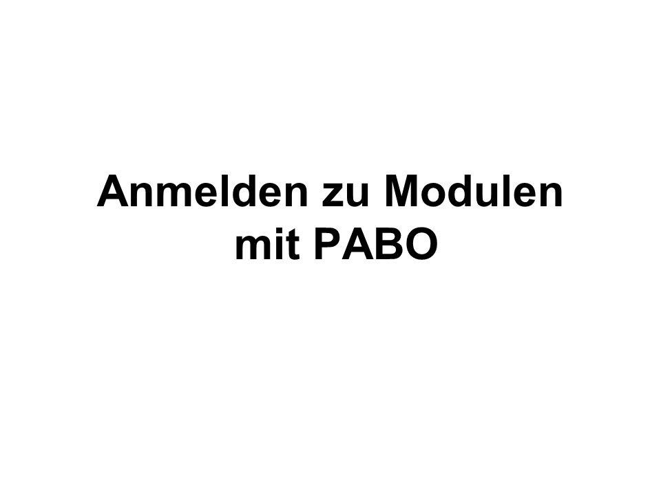 Anmelden zu Modulen mit PABO