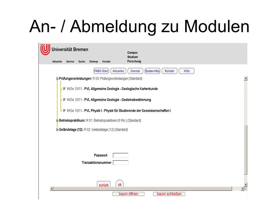 An- / Abmeldung zu Modulen