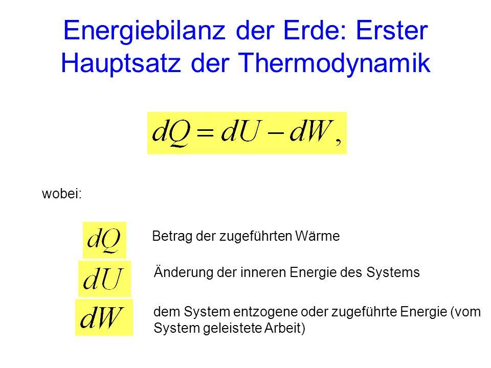 Energiebilanz der Erde: Erster Hauptsatz der Thermodynamik wobei: Betrag der zugeführten Wärme Änderung der inneren Energie des Systems dem System ent
