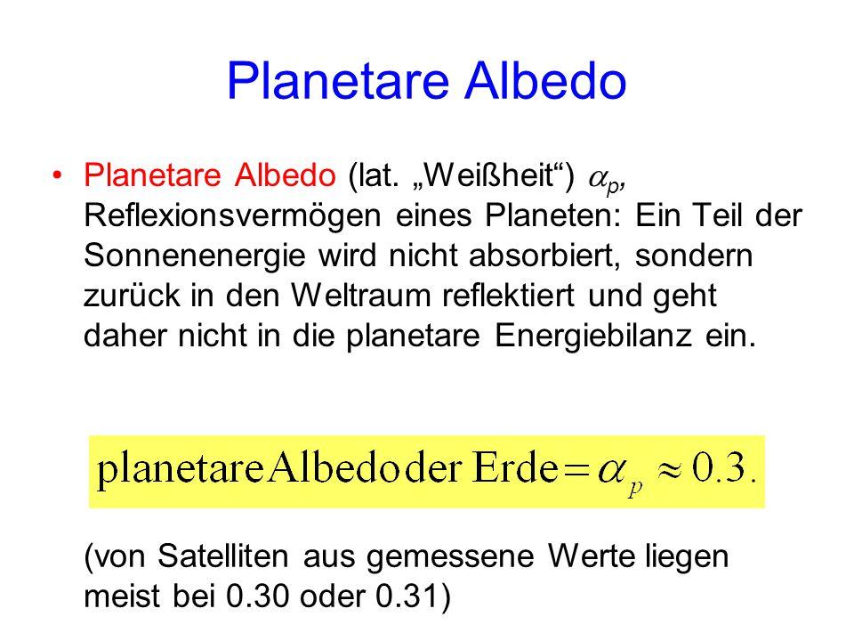 """Planetare Albedo Planetare Albedo (lat. """"Weißheit"""")  p, Reflexionsvermögen eines Planeten: Ein Teil der Sonnenenergie wird nicht absorbiert, sondern"""