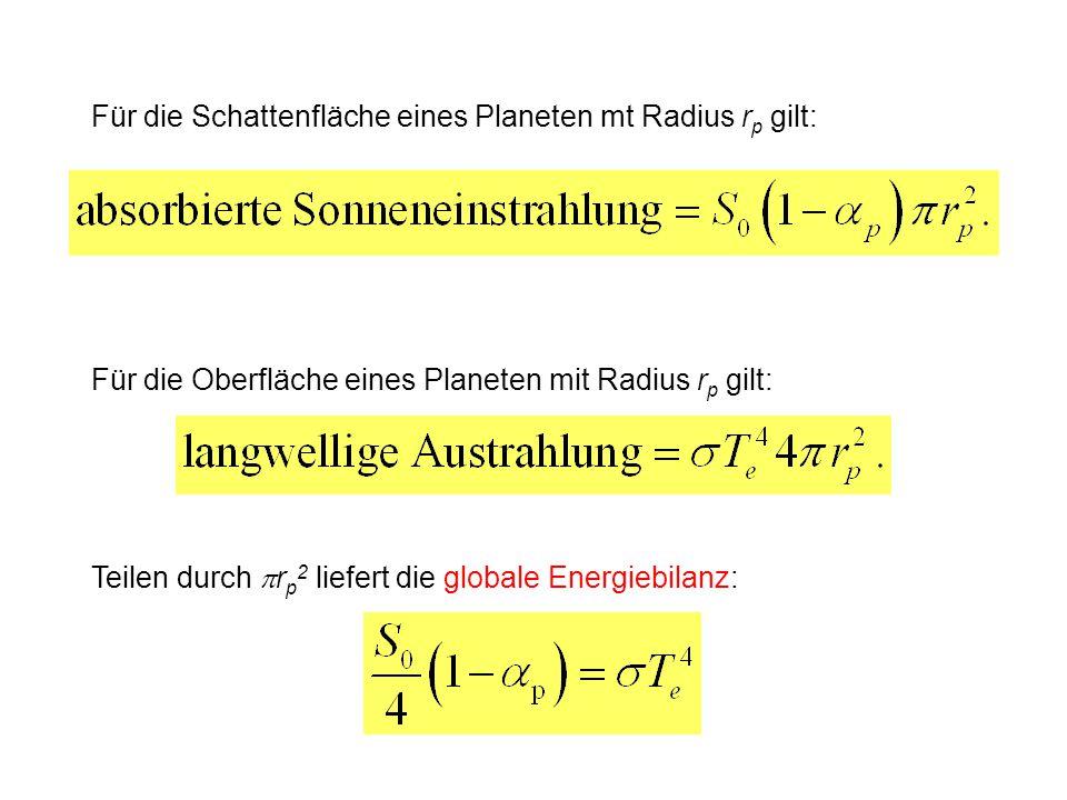Für die Schattenfläche eines Planeten mt Radius r p gilt: Für die Oberfläche eines Planeten mit Radius r p gilt: Teilen durch  r p 2 liefert die glob