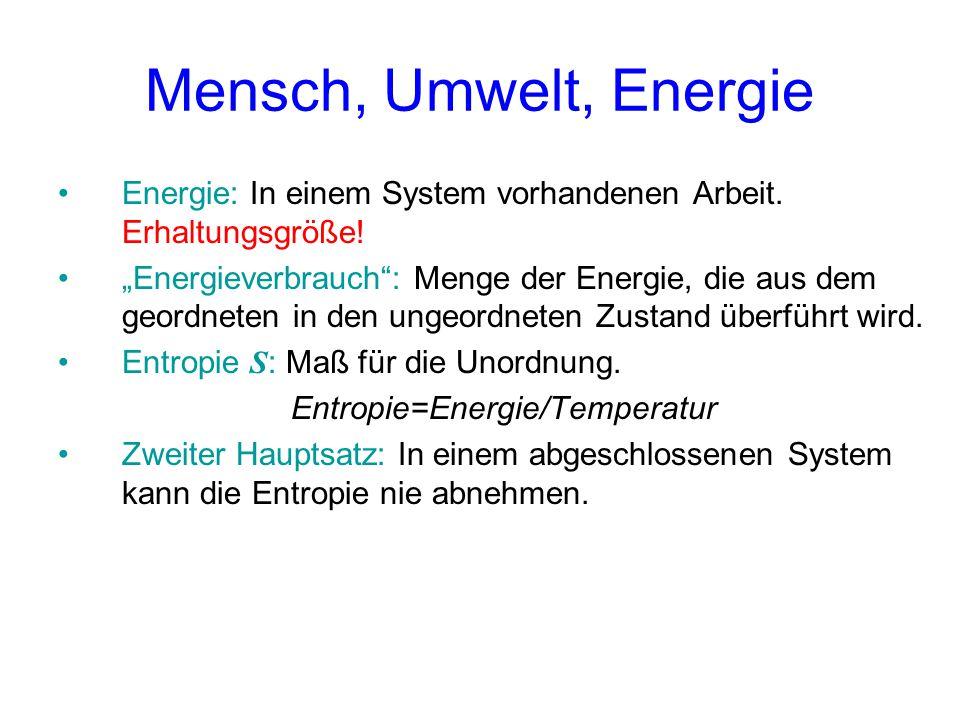 """Mensch, Umwelt, Energie Energie: In einem System vorhandenen Arbeit. Erhaltungsgröße! """"Energieverbrauch"""": Menge der Energie, die aus dem geordneten in"""
