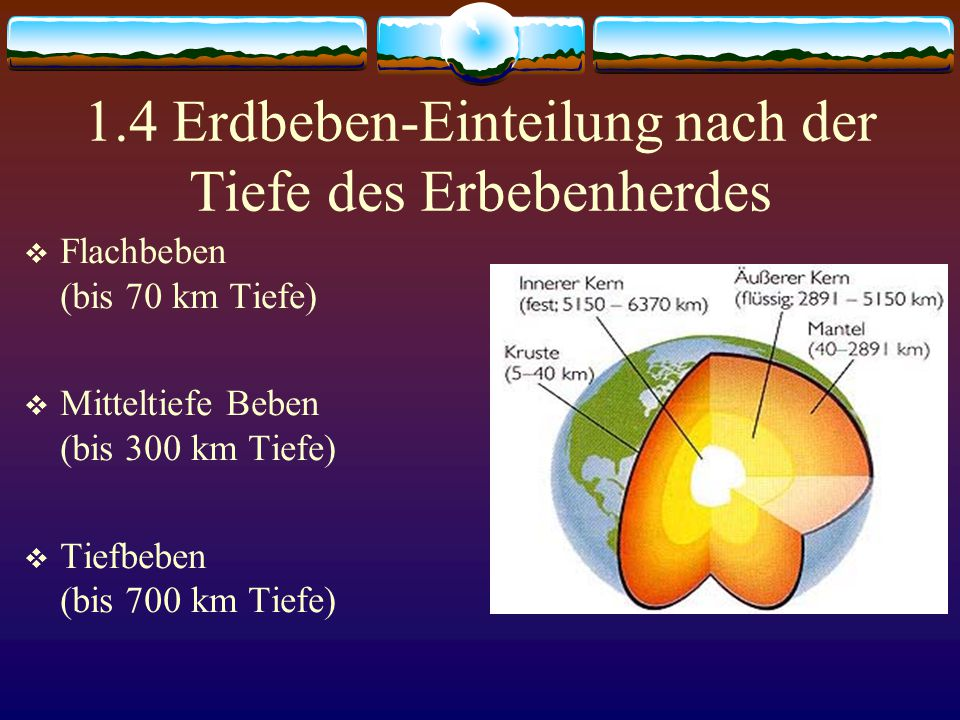 1.4 Erdbeben-Einteilung nach der Tiefe des Erbebenherdes  Flachbeben (bis 70 km Tiefe)  Mitteltiefe Beben (bis 300 km Tiefe)  Tiefbeben (bis 700 km