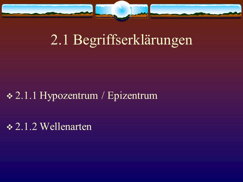 2.1 Begriffserklärungen  2.1.1 Hypozentrum / Epizentrum  2.1.2 Wellenarten