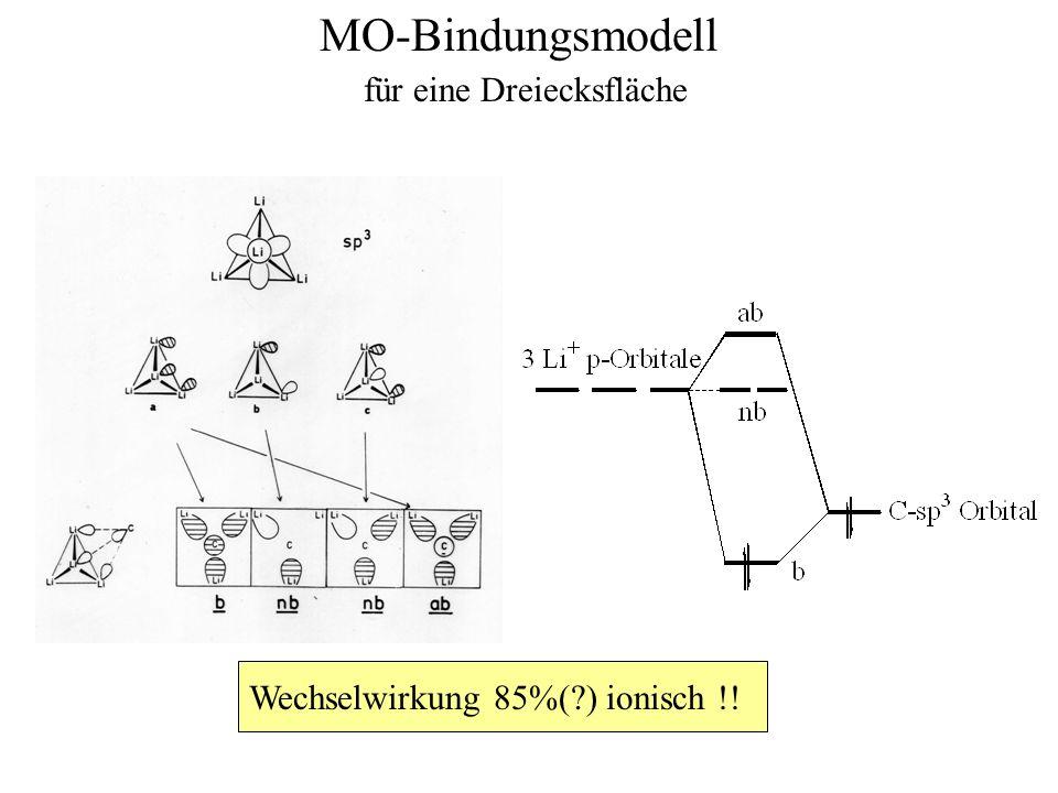 MO-Bindungsmodell Wechselwirkung 85%(?) ionisch !! für eine Dreiecksfläche