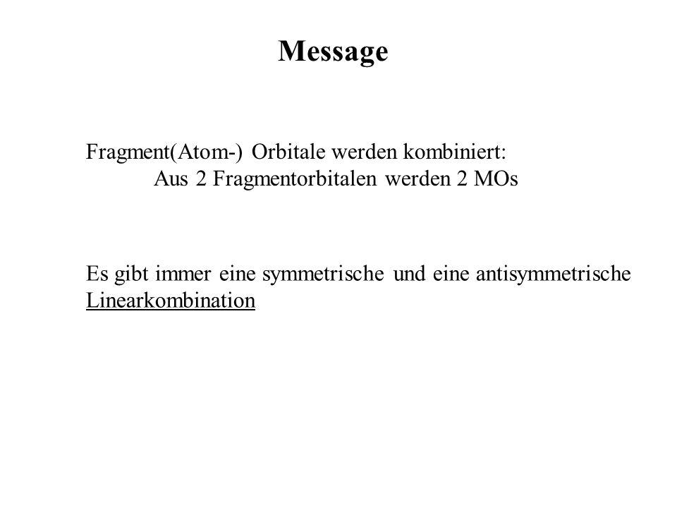 Message Fragment(Atom-) Orbitale werden kombiniert: Aus 2 Fragmentorbitalen werden 2 MOs Es gibt immer eine symmetrische und eine antisymmetrische Lin