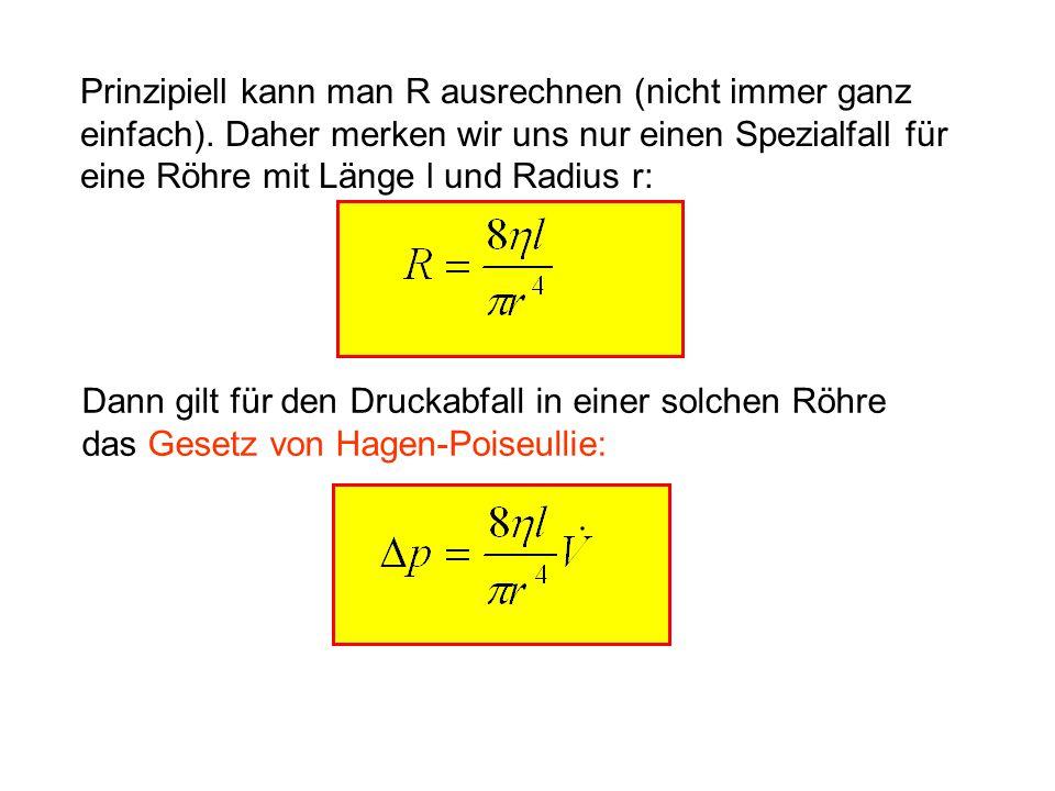 Prinzipiell kann man R ausrechnen (nicht immer ganz einfach). Daher merken wir uns nur einen Spezialfall für eine Röhre mit Länge l und Radius r: Dann