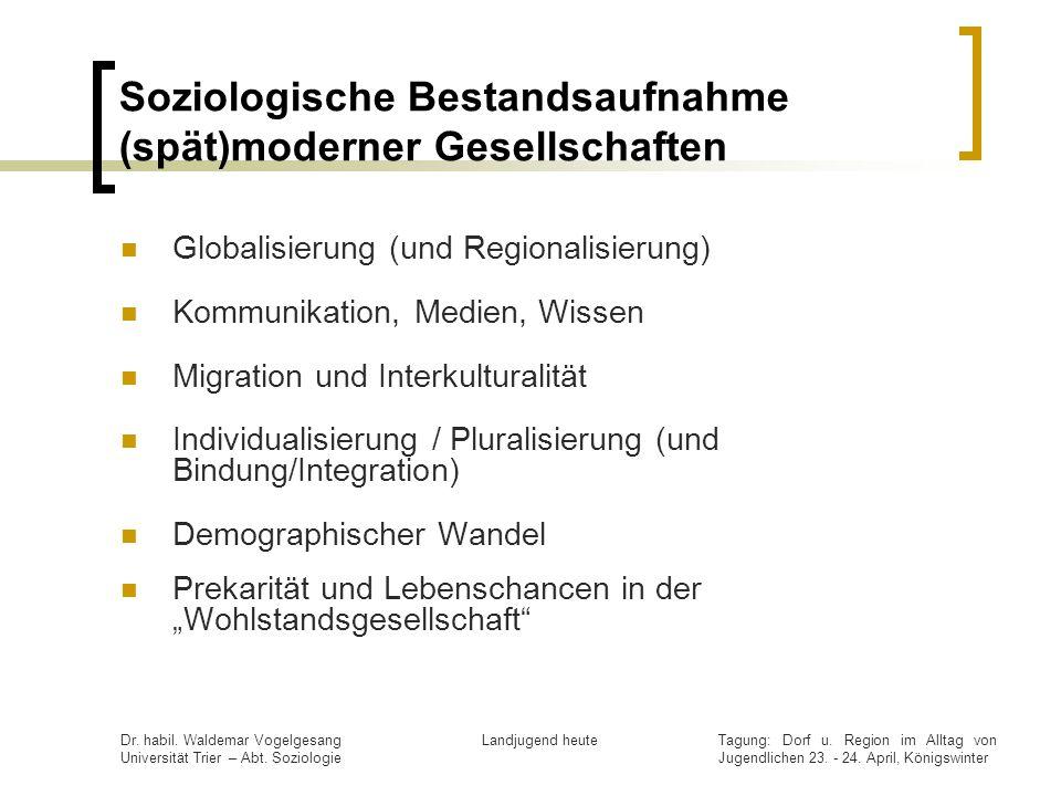 Tagung: Dorf u. Region im Alltag von Jugendlichen 23. - 24. April, Königswinter Dr. habil. Waldemar Vogelgesang Universität Trier – Abt. Soziologie La