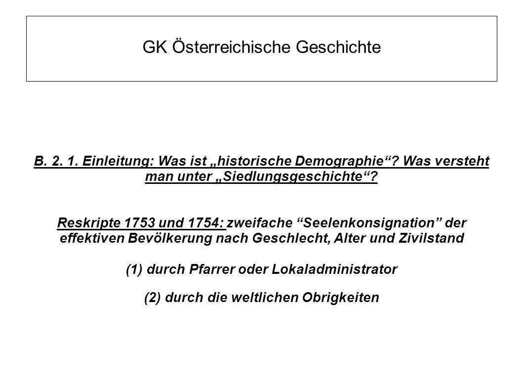 """GK Österreichische Geschichte B.2. 1. Einleitung: Was ist """"historische Demographie ."""