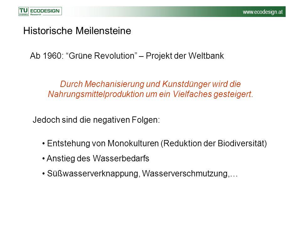 """www.ecodesign.at Historische Meilensteine Ab 1960: """"Grüne Revolution"""" – Projekt der Weltbank Durch Mechanisierung und Kunstdünger wird die Nahrungsmit"""