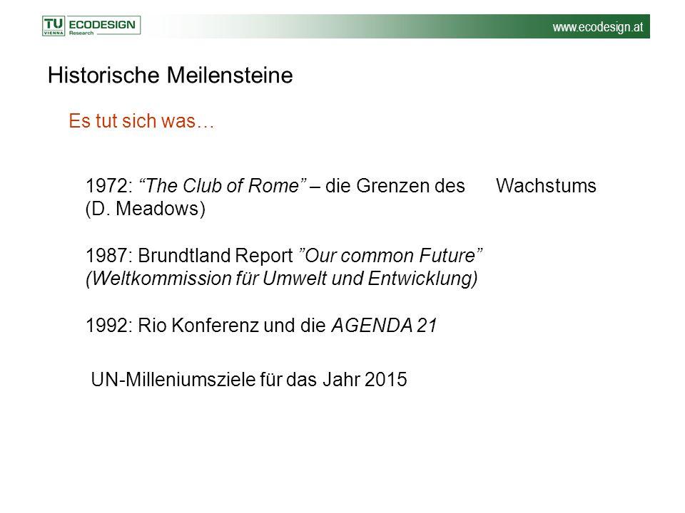 """www.ecodesign.at Historische Meilensteine 1972: """"The Club of Rome"""" – die Grenzen des Wachstums (D. Meadows) Es tut sich was… 1987: Brundtland Report """""""