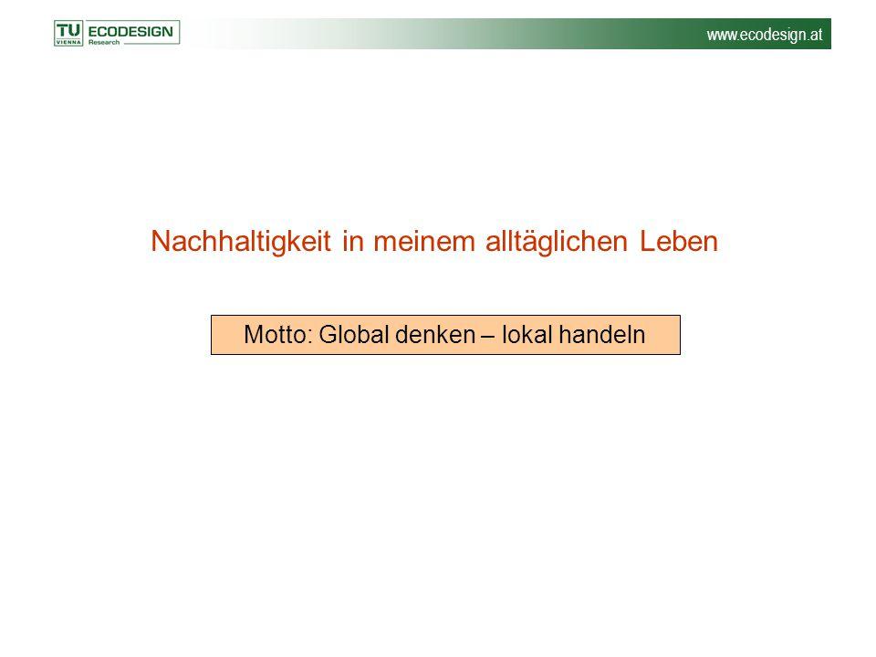 www.ecodesign.at Nachhaltigkeit in meinem alltäglichen Leben Motto: Global denken – lokal handeln