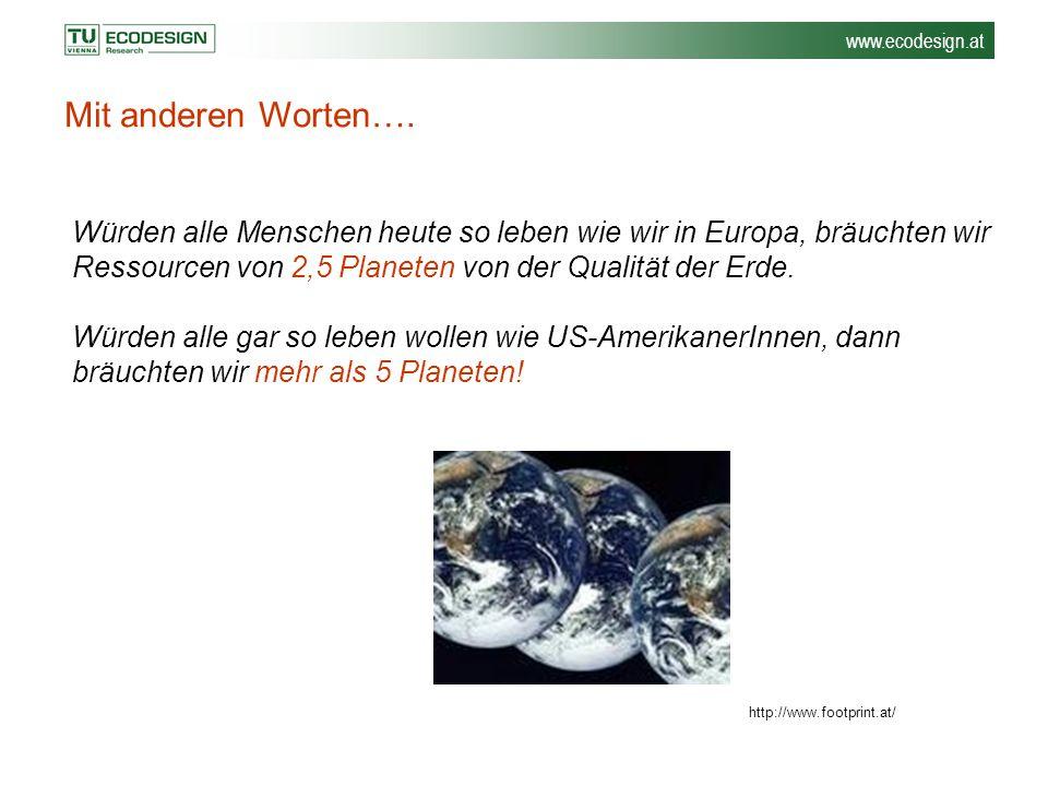 www.ecodesign.at Mit anderen Worten…. Würden alle Menschen heute so leben wie wir in Europa, bräuchten wir Ressourcen von 2,5 Planeten von der Qualitä