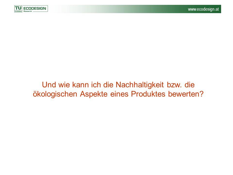 www.ecodesign.at Und wie kann ich die Nachhaltigkeit bzw. die ökologischen Aspekte eines Produktes bewerten?