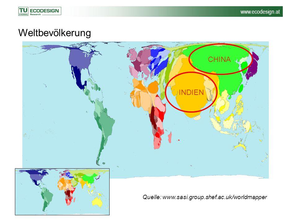 www.ecodesign.at Quelle: www.sasi.group.shef.ac.uk/worldmapper Weltbevölkerung INDIEN CHINA