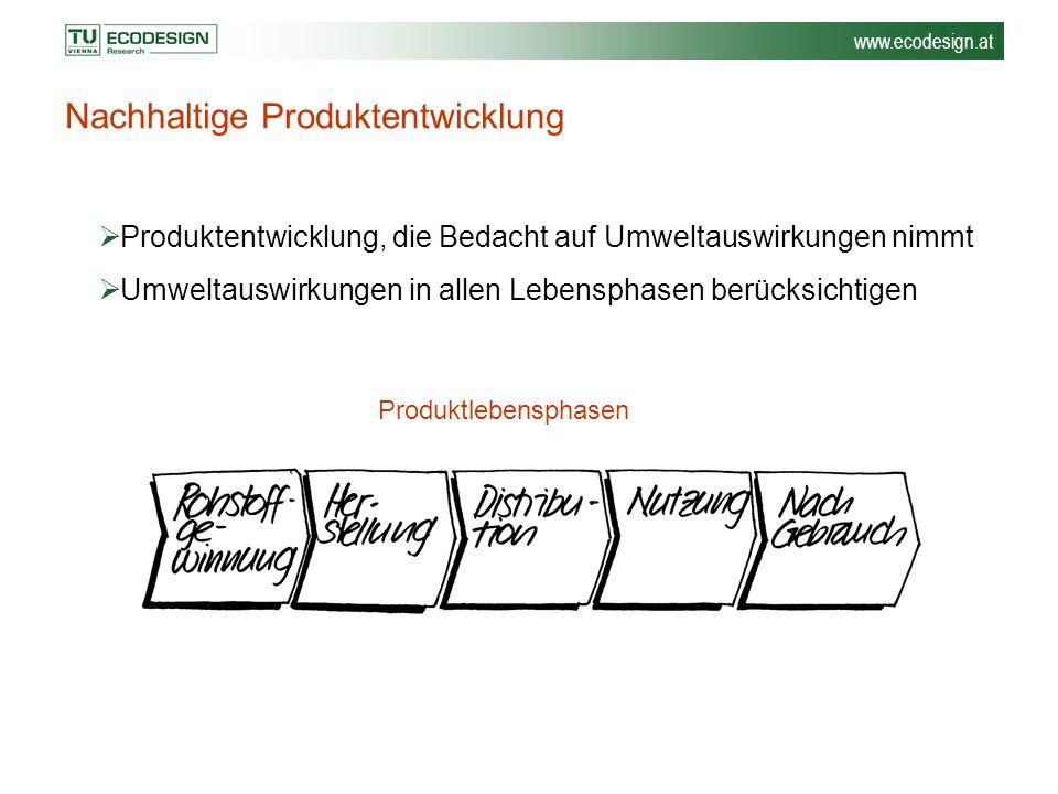 www.ecodesign.at Nachhaltige Produktentwicklung  Produktentwicklung, die Bedacht auf Umweltauswirkungen nimmt  Umweltauswirkungen in allen Lebenspha