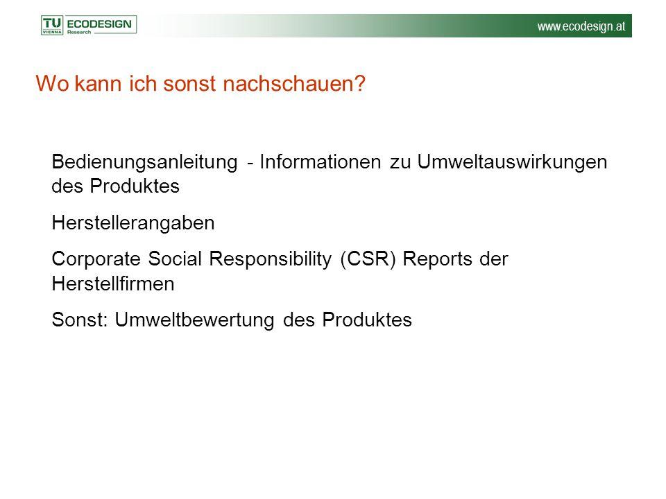 www.ecodesign.at Bedienungsanleitung - Informationen zu Umweltauswirkungen des Produktes Herstellerangaben Corporate Social Responsibility (CSR) Repor