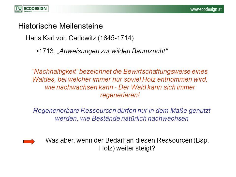 """www.ecodesign.at Historische Meilensteine 1713: """"Anweisungen zur wilden Baumzucht"""" """"Nachhaltigkeit"""" bezeichnet die Bewirtschaftungsweise eines Waldes,"""
