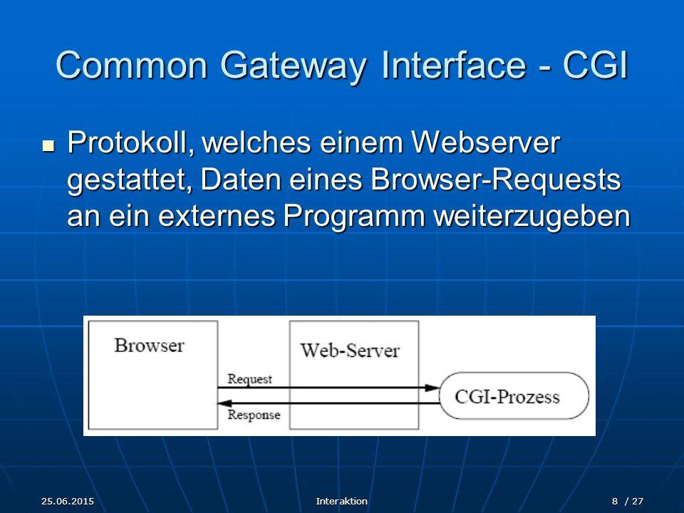 25.06.2015Interaktion8 / 27 Common Gateway Interface - CGI Protokoll, welches einem Webserver gestattet, Daten eines Browser-Requests an ein externes Programm weiterzugeben Protokoll, welches einem Webserver gestattet, Daten eines Browser-Requests an ein externes Programm weiterzugeben