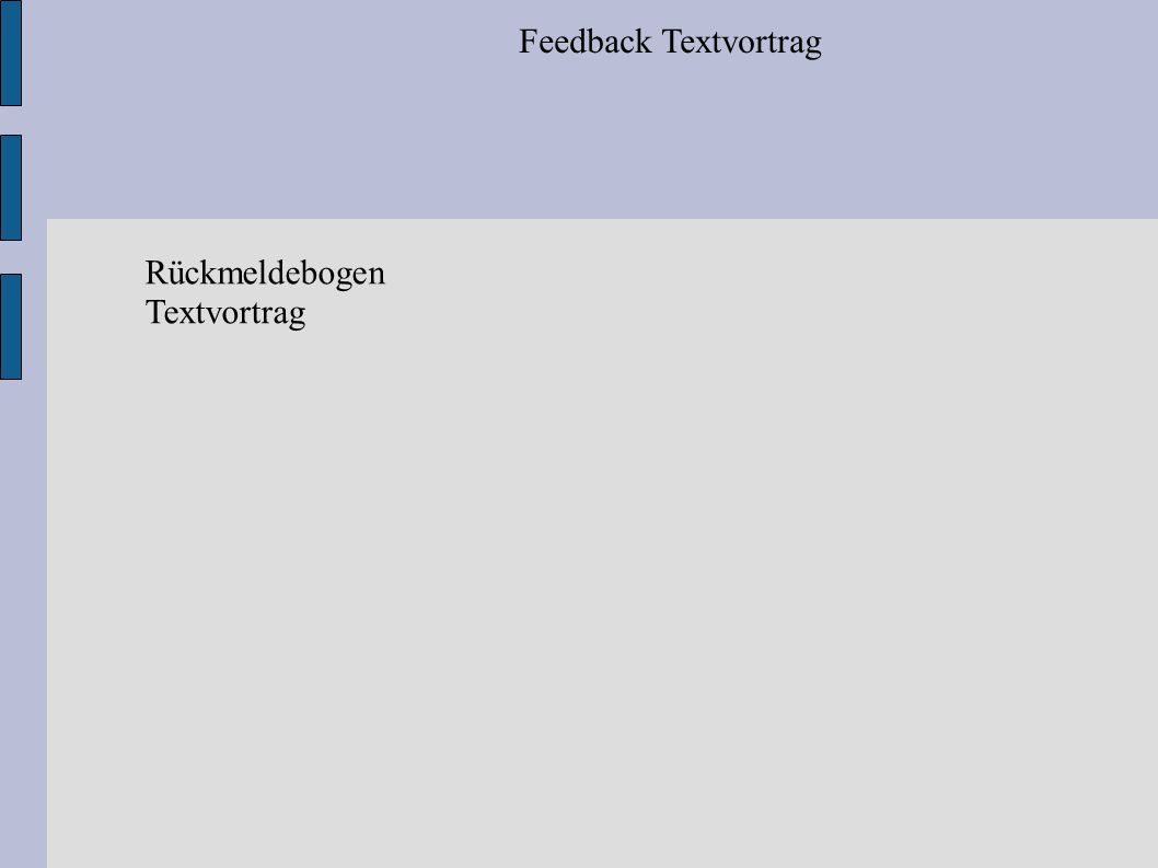 Feedback Textvortrag Rückmeldebogen Textvortrag