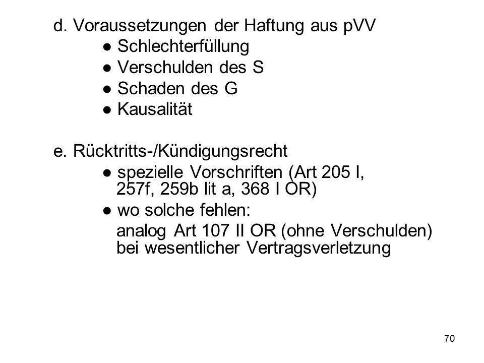 71 6.Nebenpflichtverletzungen a. Haftung aus pVV (Art 97 I OR) b.