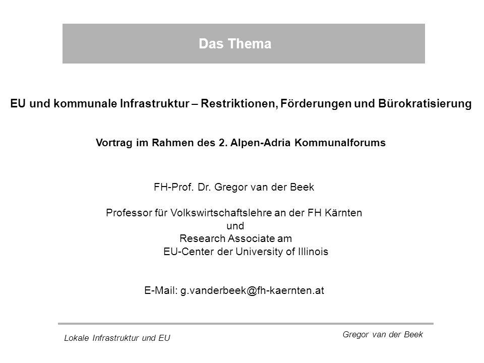 Lokale Infrastruktur und EU Gregor van der Beek Das Thema FH-Prof.