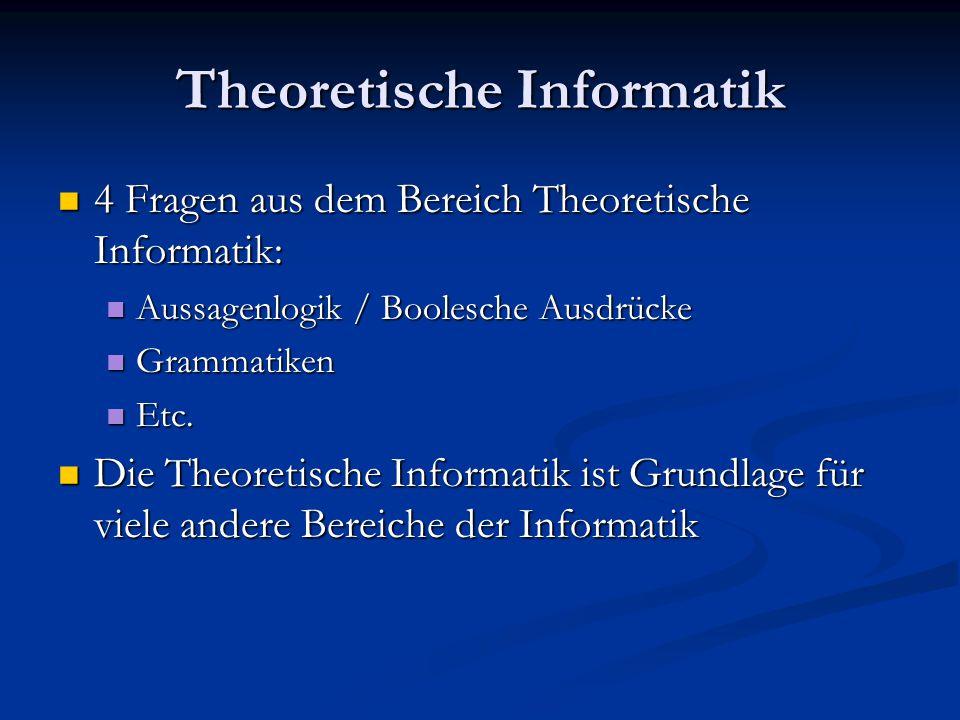 Praktische Informatik 4 Fragen aus dem Bereich Praktische Informatik: 4 Fragen aus dem Bereich Praktische Informatik: Logisches Denken Logisches Denken Syntaxdiagramm Syntaxdiagramm Etc.
