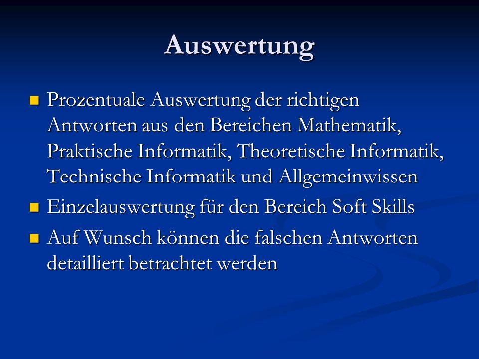 Auswertung Prozentuale Auswertung der richtigen Antworten aus den Bereichen Mathematik, Praktische Informatik, Theoretische Informatik, Technische Inf