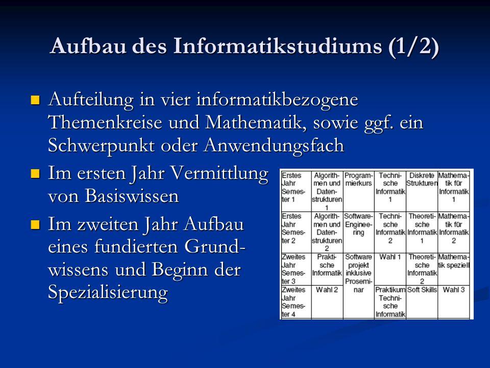 Aufbau des Informatikstudiums (2/2) Im dritten Jahr Ergänzung des bereits erworbenen Wissens in dem gewählten Gebiet.