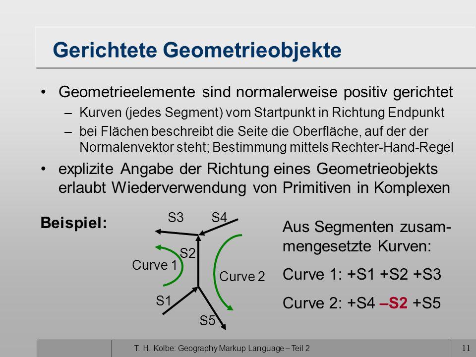 T. H. Kolbe: Geography Markup Language – Teil 2 11 Gerichtete Geometrieobjekte Geometrieelemente sind normalerweise positiv gerichtet –Kurven (jedes S
