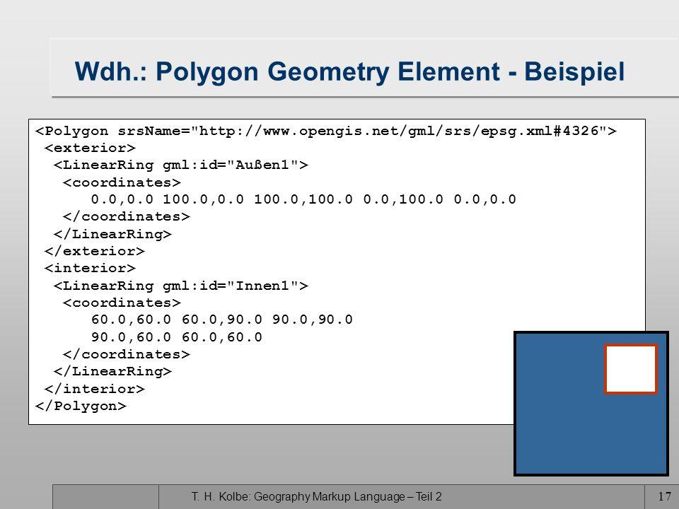 T. H. Kolbe: Geography Markup Language – Teil 2 17 Wdh.: Polygon Geometry Element - Beispiel 0.0,0.0 100.0,0.0 100.0,100.0 0.0,100.0 0.0,0.0 60.0,60.0