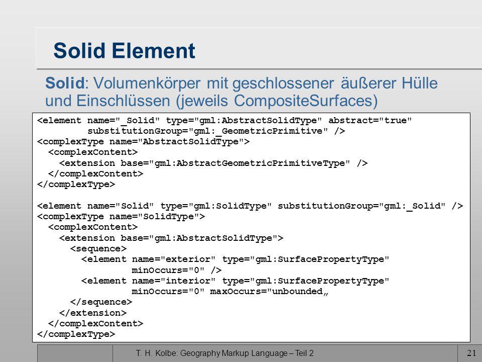 T. H. Kolbe: Geography Markup Language – Teil 2 21 Solid Element Solid: Volumenkörper mit geschlossener äußerer Hülle und Einschlüssen (jeweils Compos